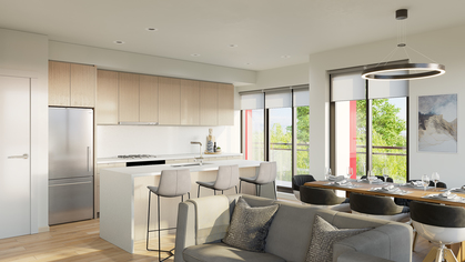 the-crest-kitchen-rendering at 106 E 35th Avenue, Main, Vancouver East