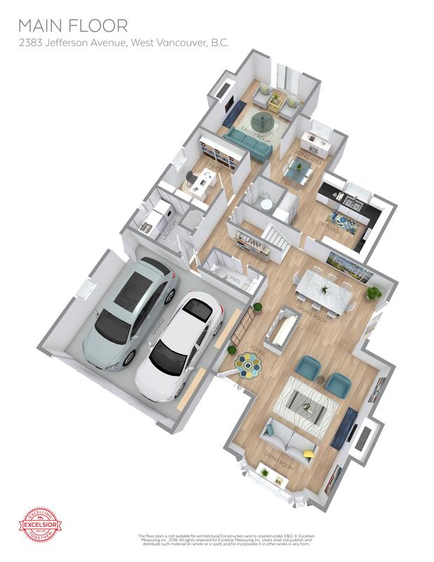 3D Floor Plan Main at 2383 Jefferson Avenue, Dundarave, West Vancouver