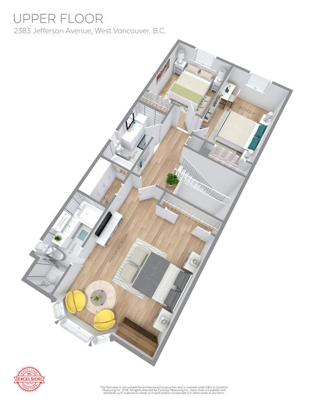3D Floor Plan Upper at 2383 Jefferson Avenue, Dundarave, West Vancouver