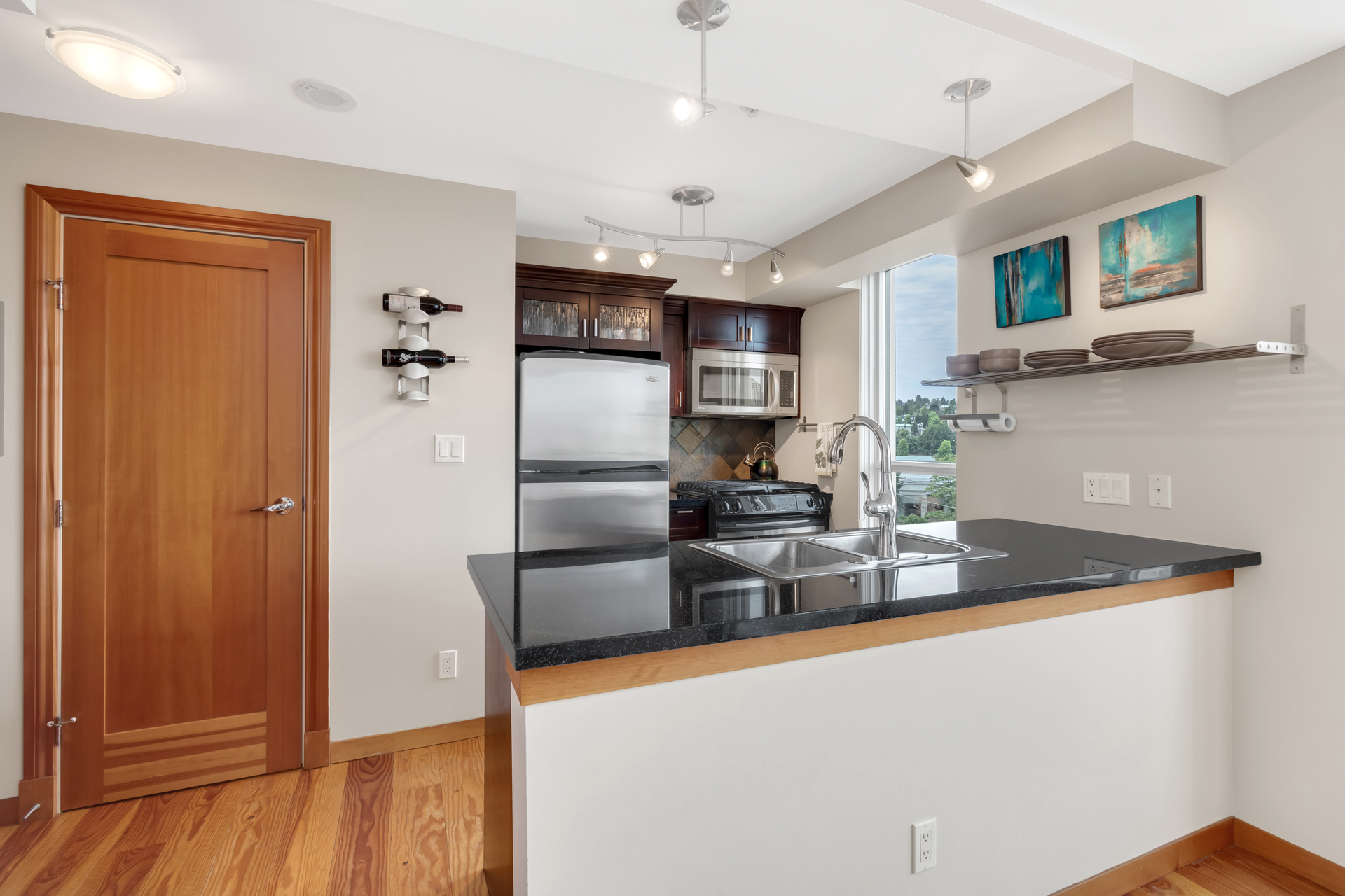 Kitchen at 422 - 10 Renaissance Square, Quay, New Westminster