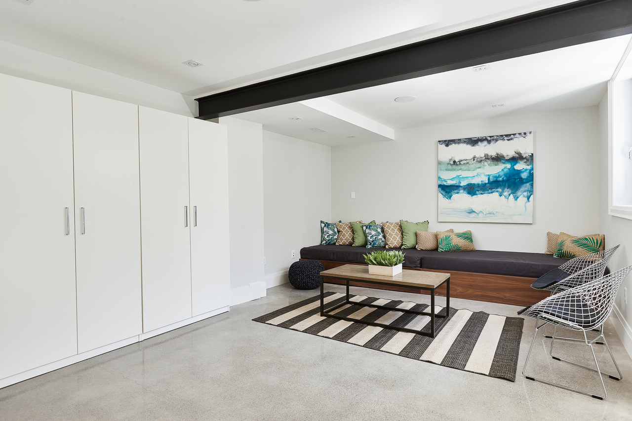 Basement Rec Room w/ Heated Polished Concrete at 83 Morningside Avenue, High Park-Swansea, Toronto