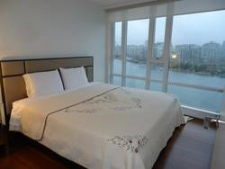 Master bedroom with city view at 1106 - 918 Cooperage Way, Yaletown, Vancouver West
