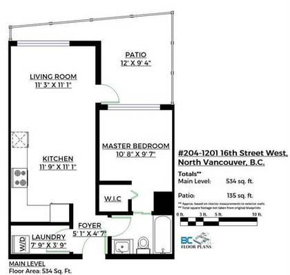 floorplan at 404 - 1201 West 16th, Pemberton NV, North Vancouver