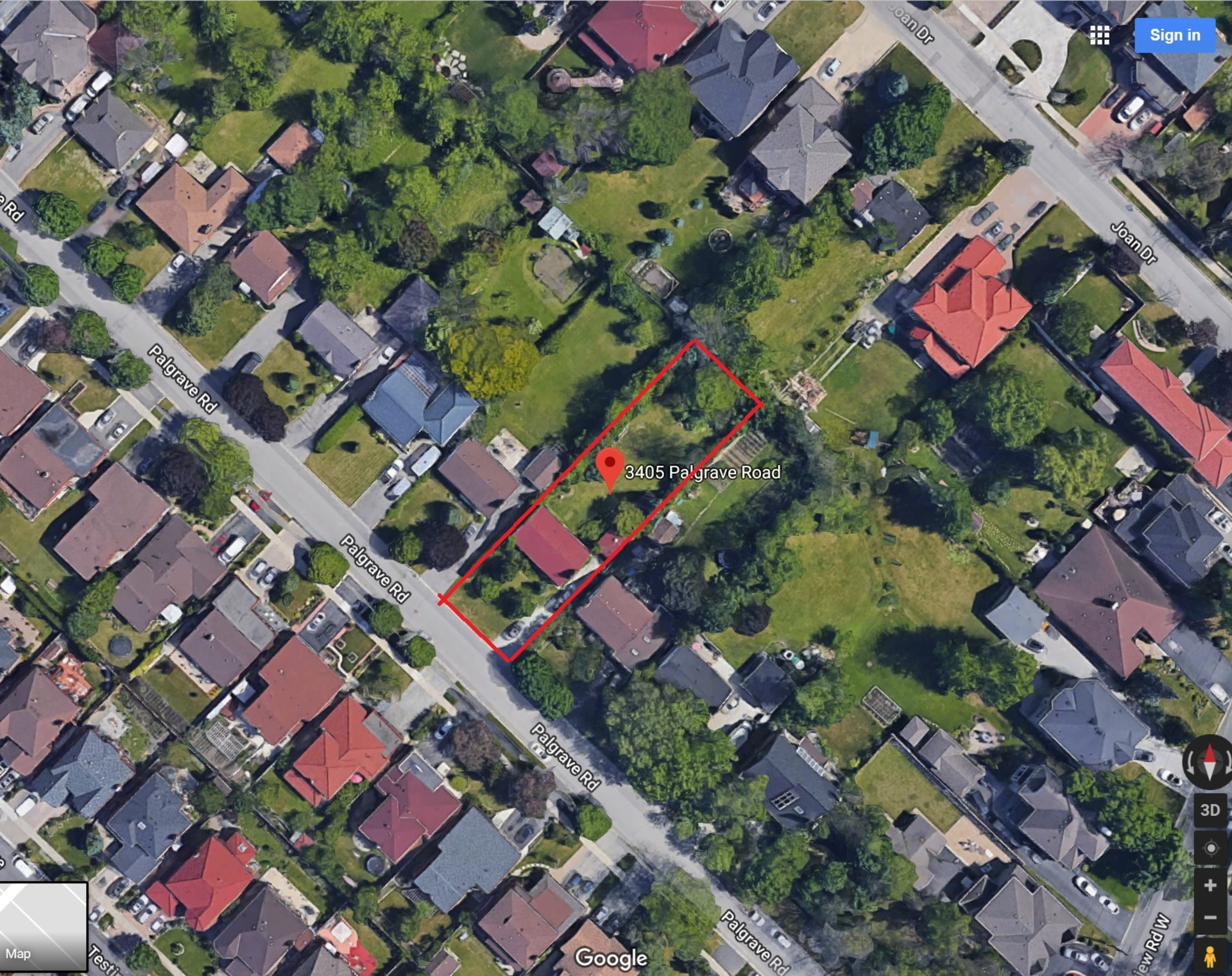 mls-pic-1-3405-palgrave-rd-lot-boundary-1 at 3405 Palgrave Road, Fairview, Mississauga