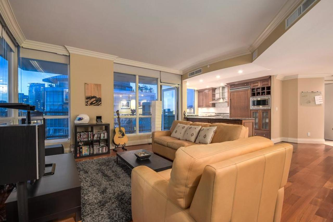 Living room at 2101 - 1328 Marinaside Crescent, Yaletown, Vancouver West