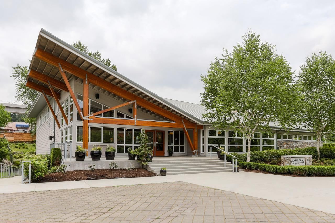 Canoe Club Exterior at 404 - 400 Klahanie Drive, Port Moody Centre, Port Moody