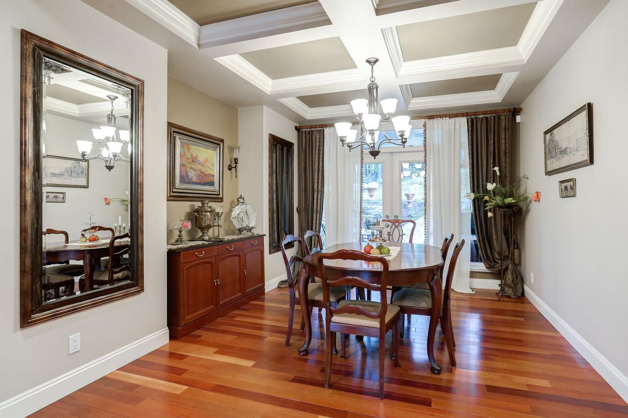 Formal Dining Room with French doors to patio at 1053 Ravenswood Drive, Anmore, Port Moody
