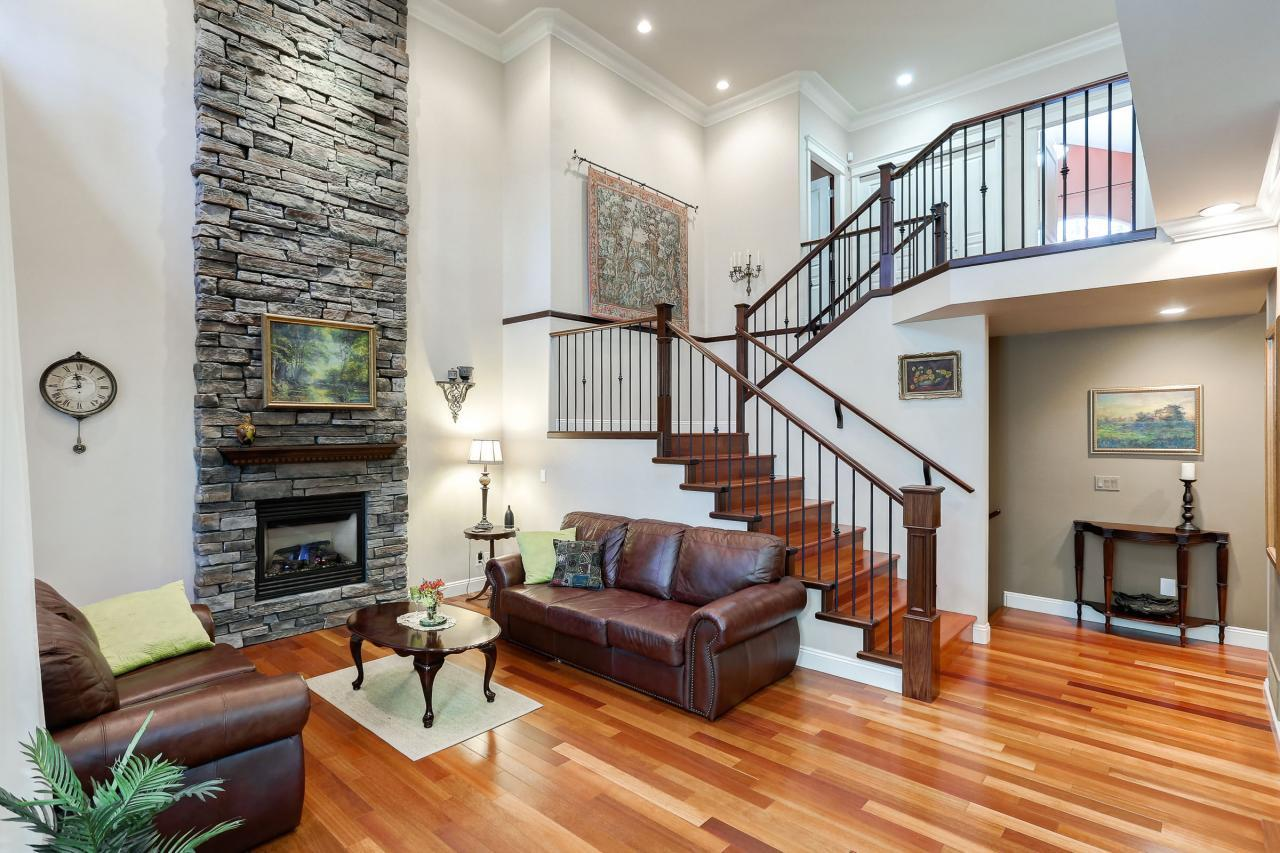 Great Room and staircase to upper level at 1053 Ravenswood Drive, Anmore, Port Moody