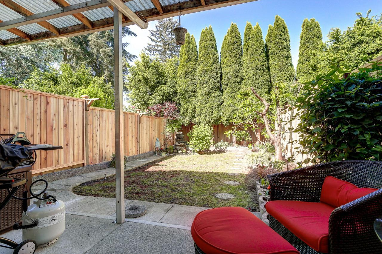 Large private back yard, new fence at 102 - 3265 Sefton Street, Glenwood PQ, Port Coquitlam