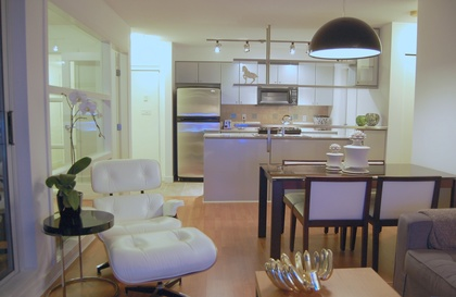 Living, Dining, and Kitchen at 2905 - 1495 Richards Street , Yaletown, Vancouver West