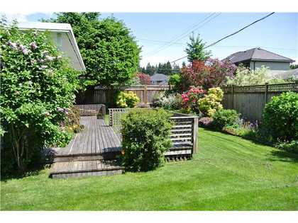 Spacious backyard and elevated patio  at 979 Devon Road, Forest Hills NV, North Vancouver