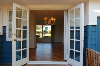 Beautiful French doors to the patio at 979 Devon Road, Forest Hills NV, North Vancouver