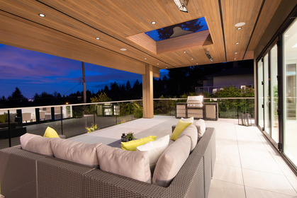 covered deck with built-in BBQ at 557 -  St. Giles Road, Glenmore, West Vancouver