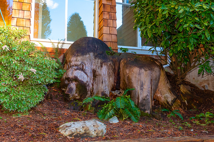carved bear in garden at 2475 Palmerston Avenue, Dundarave, West Vancouver