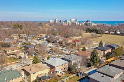 274 Honeyvale Road-Aerial View to Lake at 274 Honeyvale Road, Bronte West, Oakville