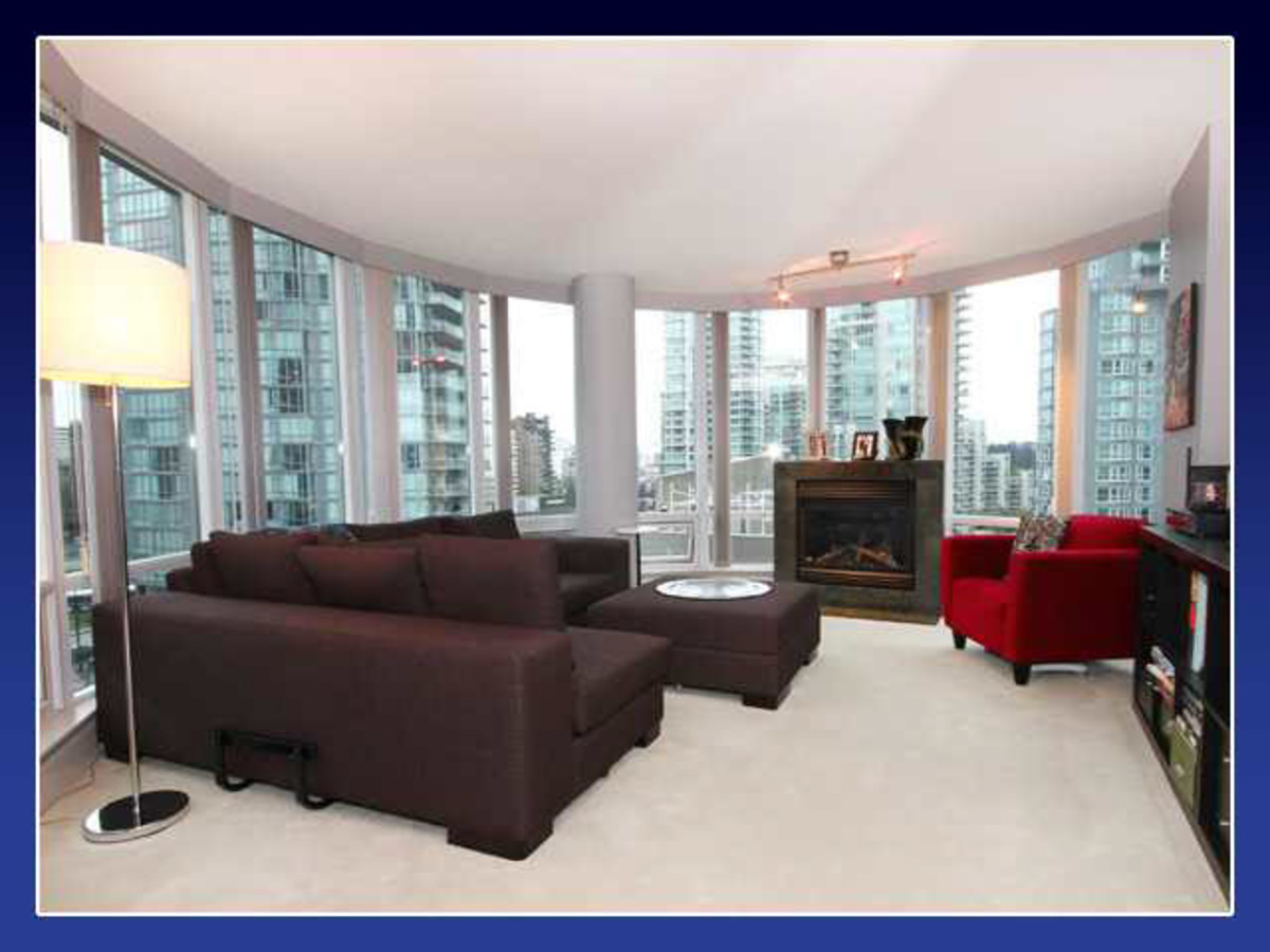 Living Room at 906 - 590 Nicola Street, Coal Harbour, Vancouver West