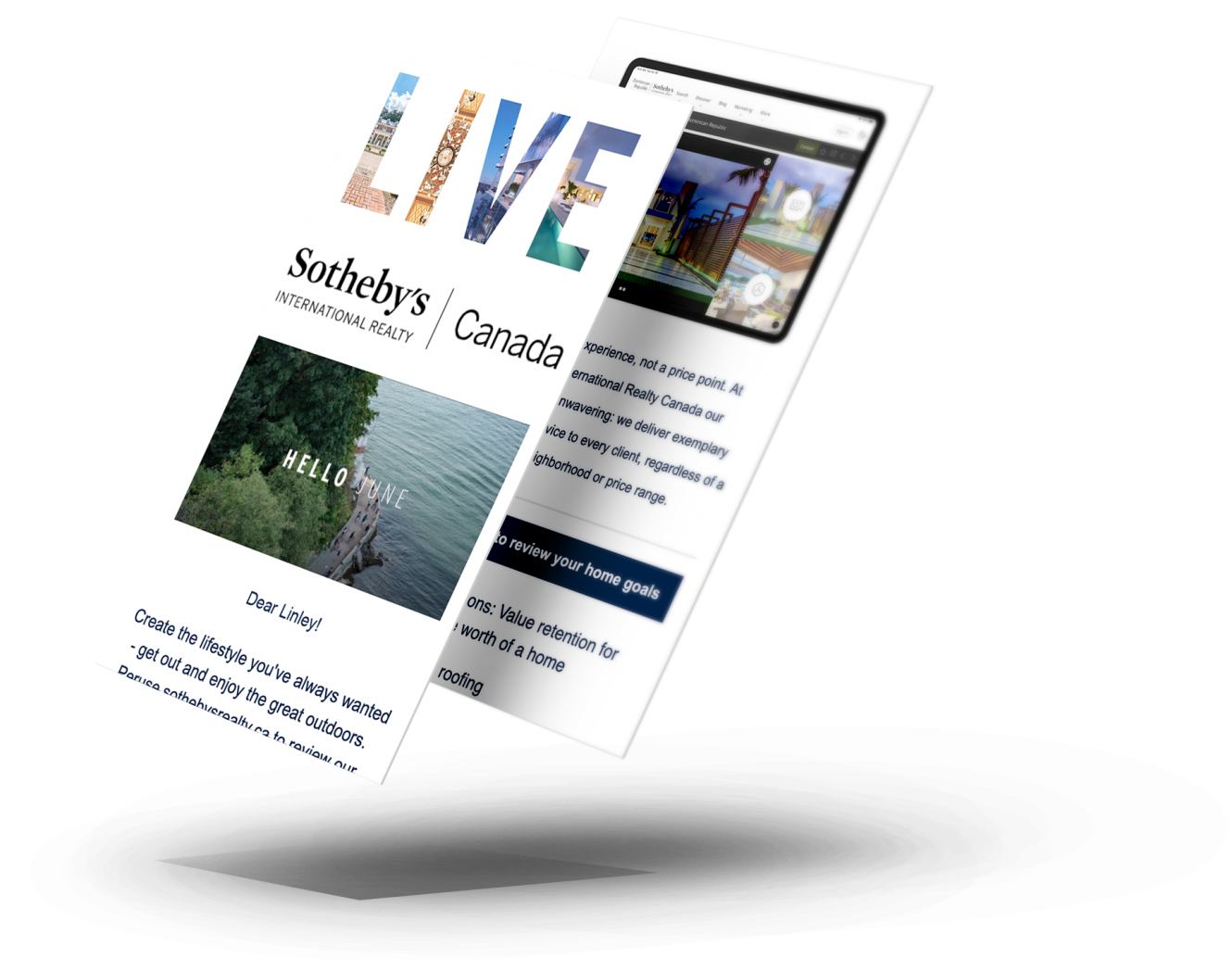 Get exclusive real estate updates! cell phones with newsletters on the screen.