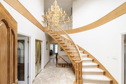 Gorgeous and classic staircase with feature chandelier at 1178 West 42nd Avenue, South Granville, Vancouver West