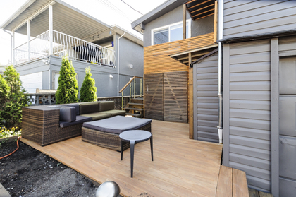 Lovely outdoor deck for entertaining at 4786 Windsor Street, Fraser VE, Vancouver East