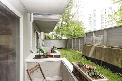 Private outlooks onto green space at 102 - 1206 W 14th Avenue, Fairview VW, Vancouver West