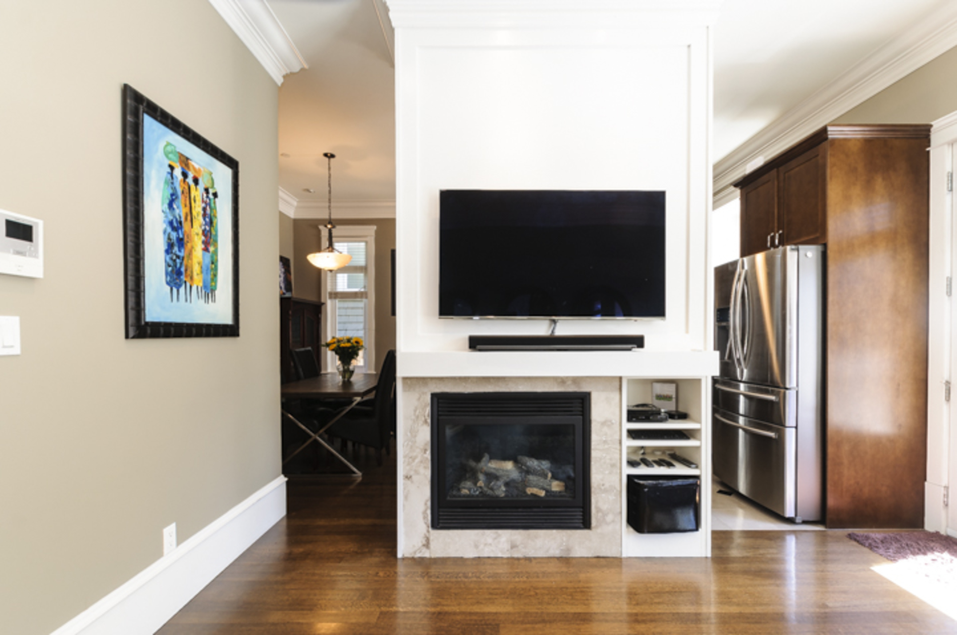 Electric fireplace with functional built ins at 876 West 23rd Avenue, Cambie, Vancouver West