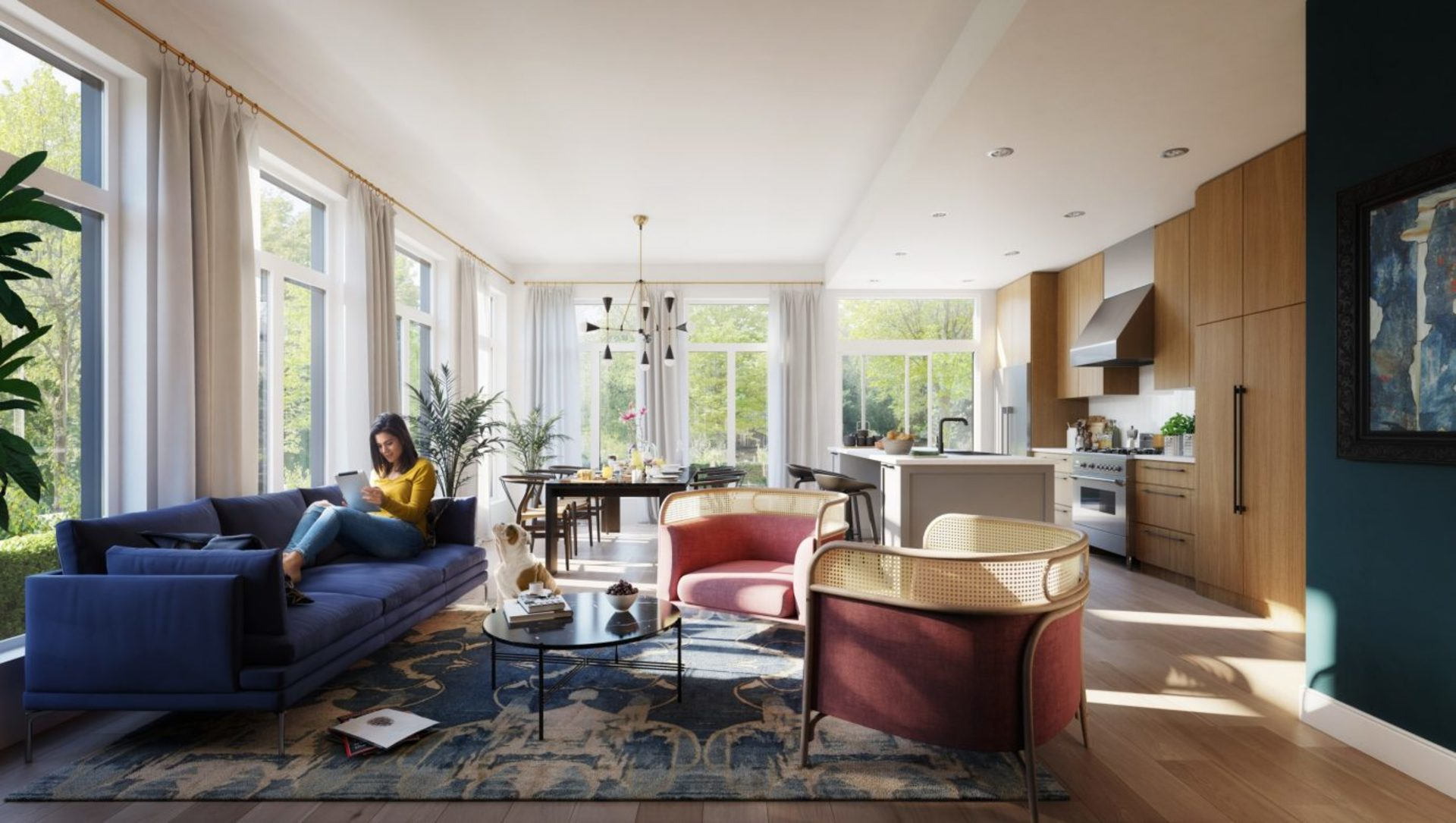 Living Room - Interior rendering from developer at 401 - 288 West King Edward Avenue, Cambie, Vancouver West