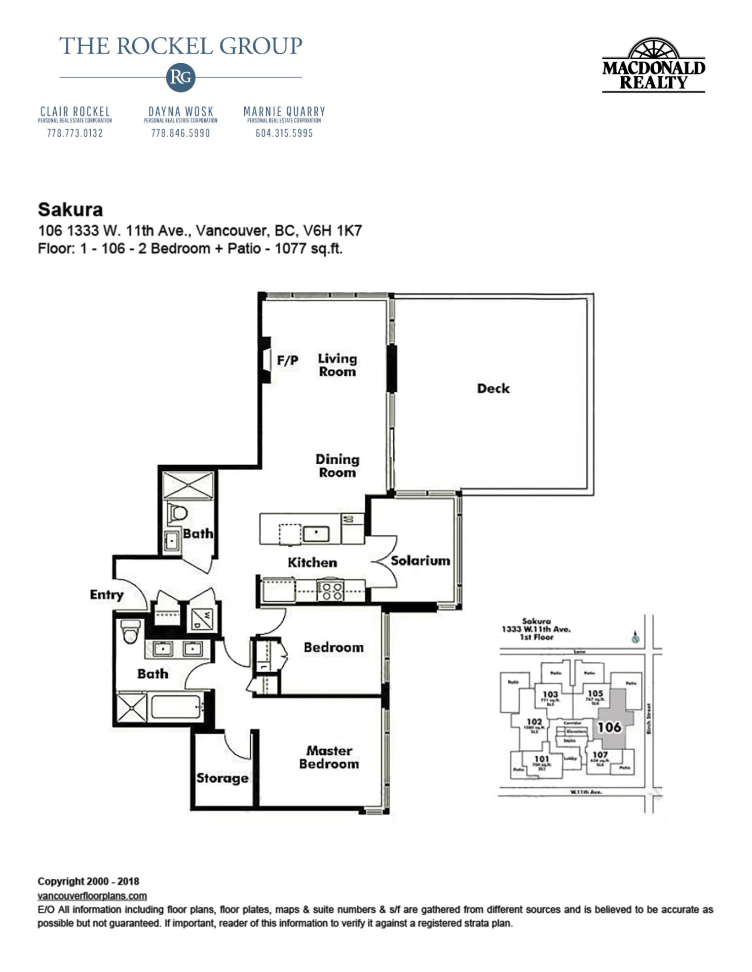Floorplans at 106 - 1333 West 11th Avenue, Fairview VW, Vancouver West