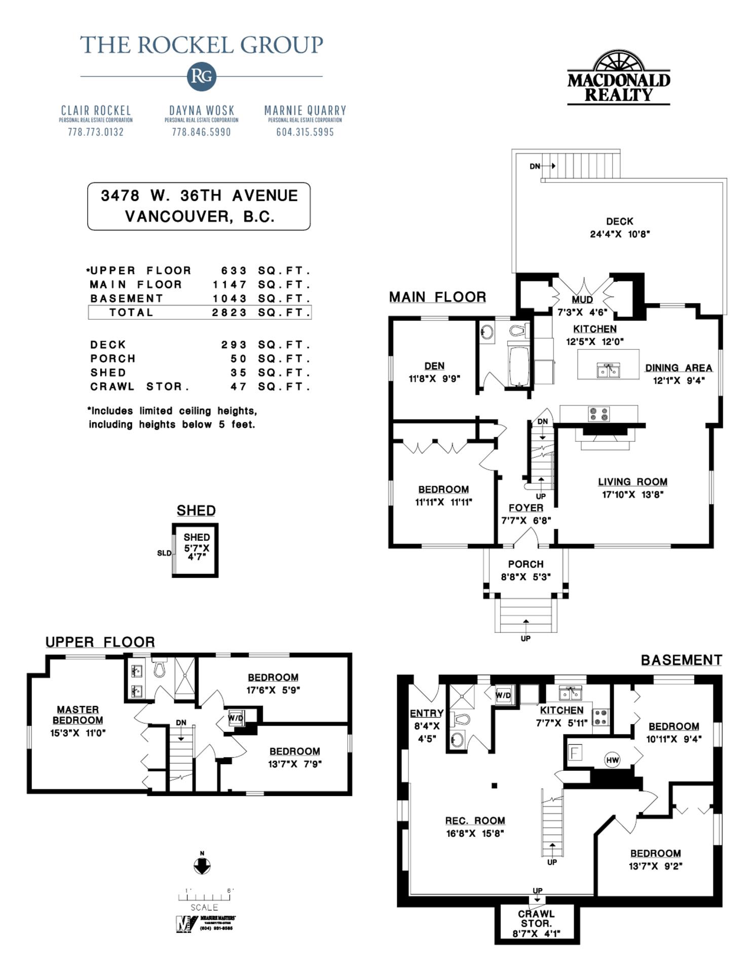Floor plans at 3478 West 36th Avenue, Dunbar, Vancouver West