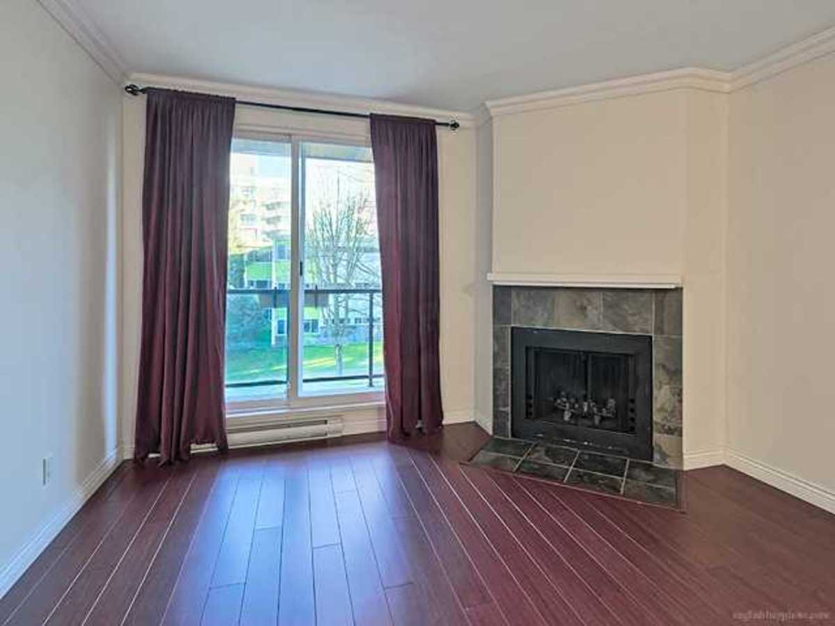 Wood burning fireplace at 308 - 1550 Barclay Street, West End VW, Vancouver West