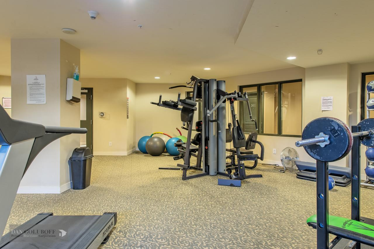 Gym on same floor as apartment at 302 - 4078 Knight Street, Knight, Vancouver East