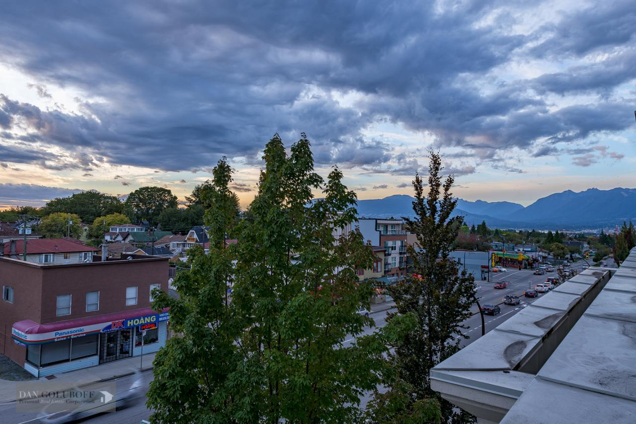 Great Western exposure from deck at 302 - 4078 Knight Street, Knight, Vancouver East