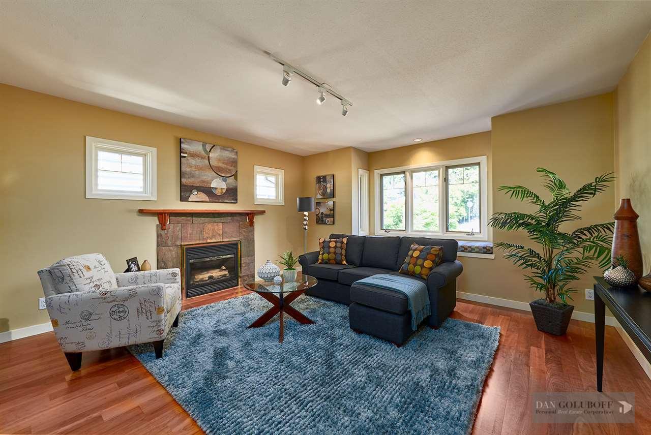 Deep Cove Custom Home - Sitting Room Fireplace at 4377 Raeburn Street, Deep Cove, North Vancouver