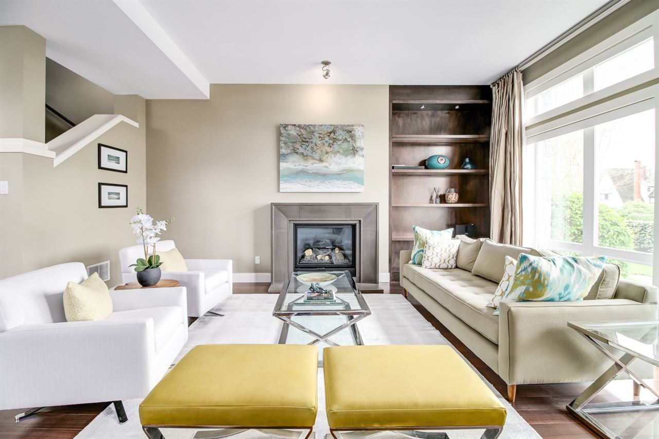 Formal living room with gas fireplace at 6002 Chancellor Boulevard, University VW, Vancouver West