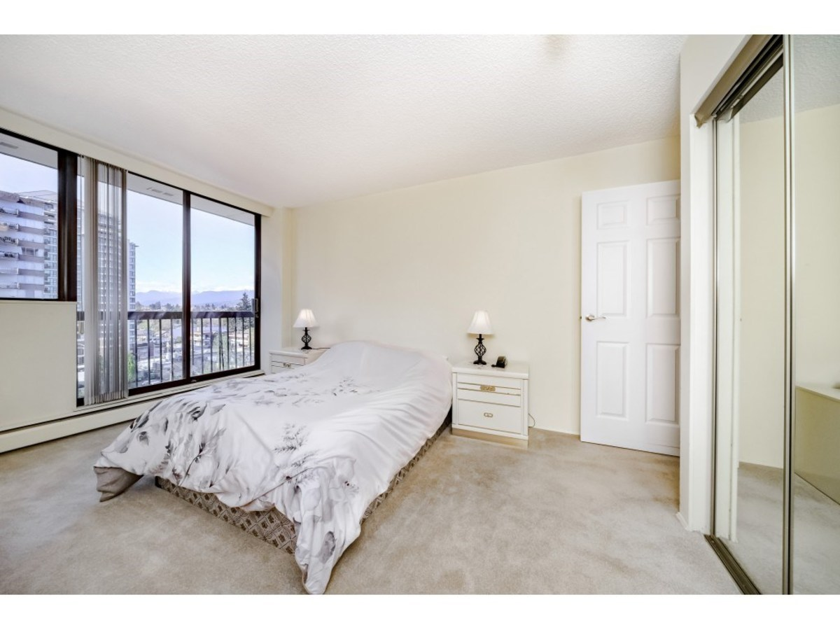 Bedroom with deck access at 803 - 620 Seventh Avenue, Uptown NW, New Westminster