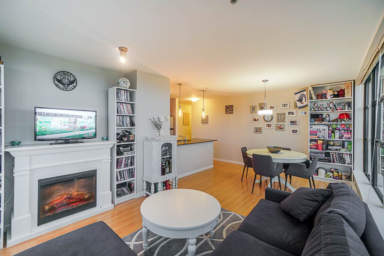 Large living space-Electric fireplace at 501 - 306 Sixth Street, Uptown NW, New Westminster