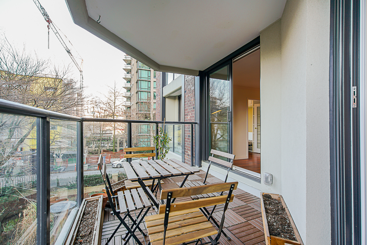 West facing covered deck at 303 - 1010 Burnaby Street, West End VW, Vancouver West