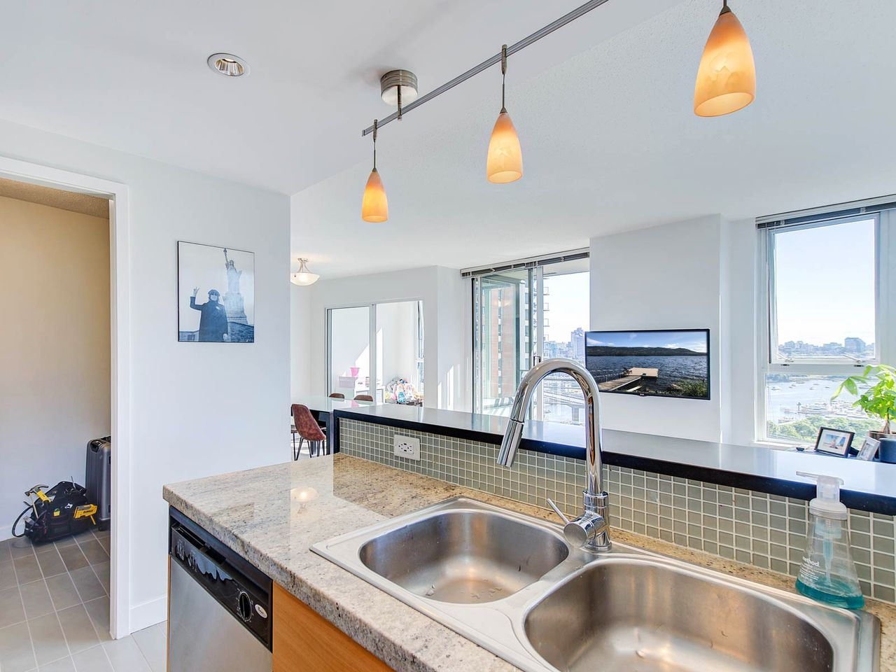 Double sink, stainless steel appliances at 2006 - 33 Smithe Street, Yaletown, Vancouver West
