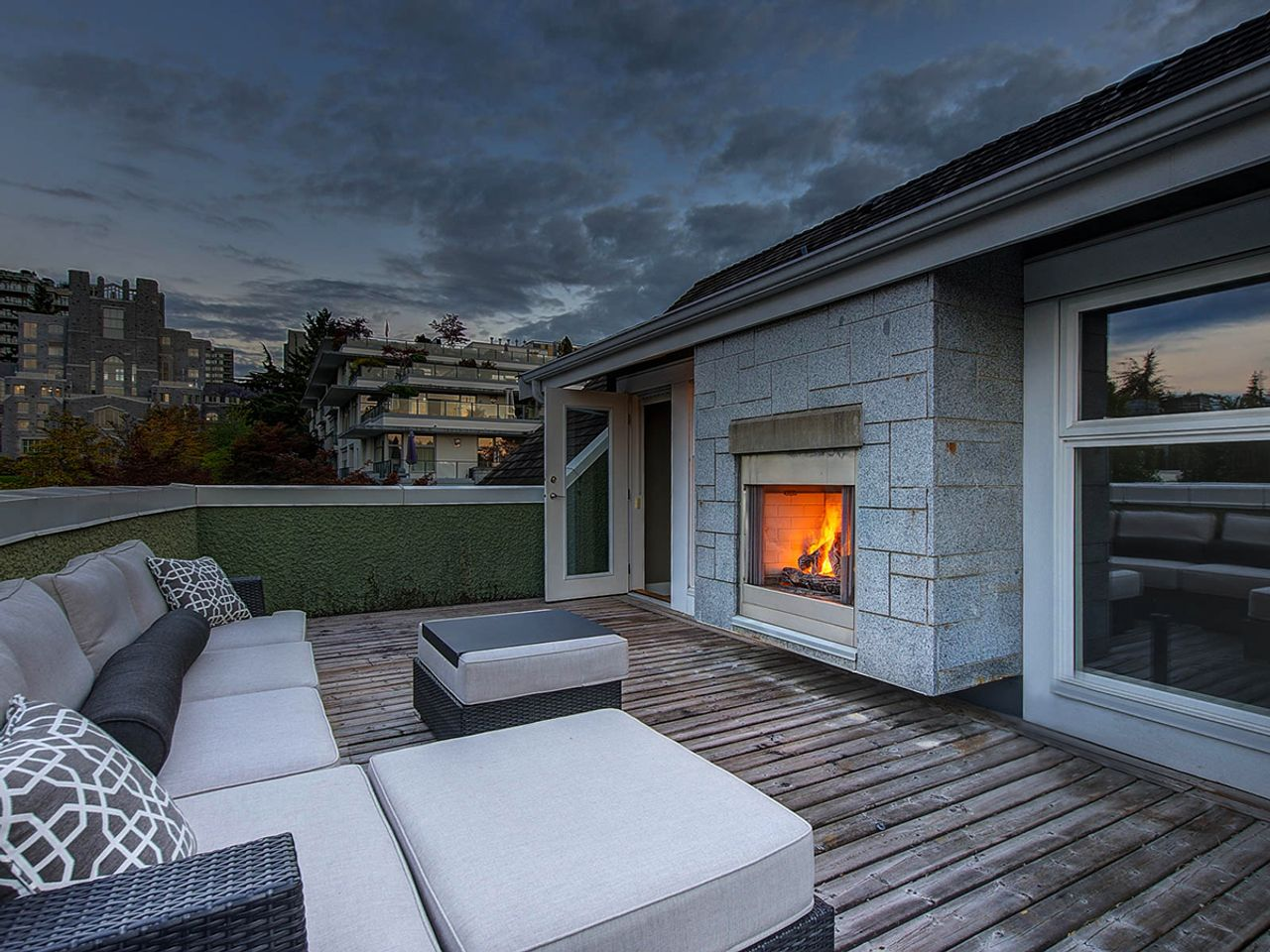 fireplace-at-night at 6002 Chancellor Boulevard, University VW, Vancouver West