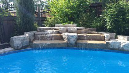 Pool Waterfall - 2415 Lyndhurst Dr, Oakville - Elite3 & Team at 2415 Lyndhurst Drive, Iroquois Ridge North, Oakville