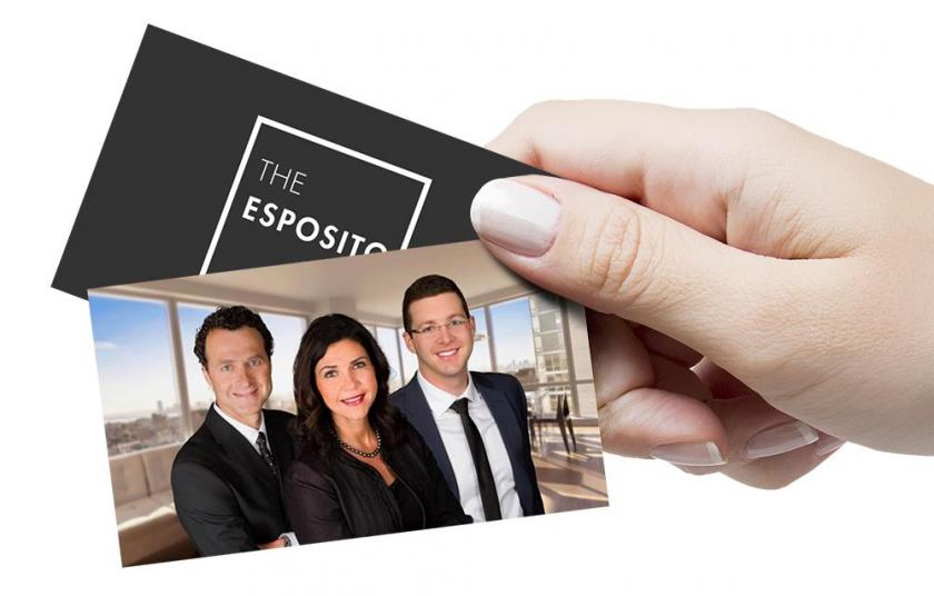 Business cards with 3 top realtors of The Esposito Team