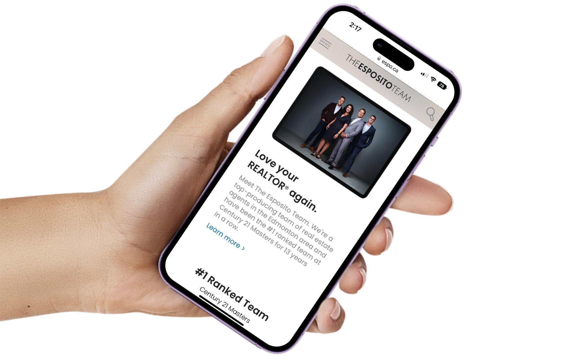 ESPO.ca homepage displayed on smartphone