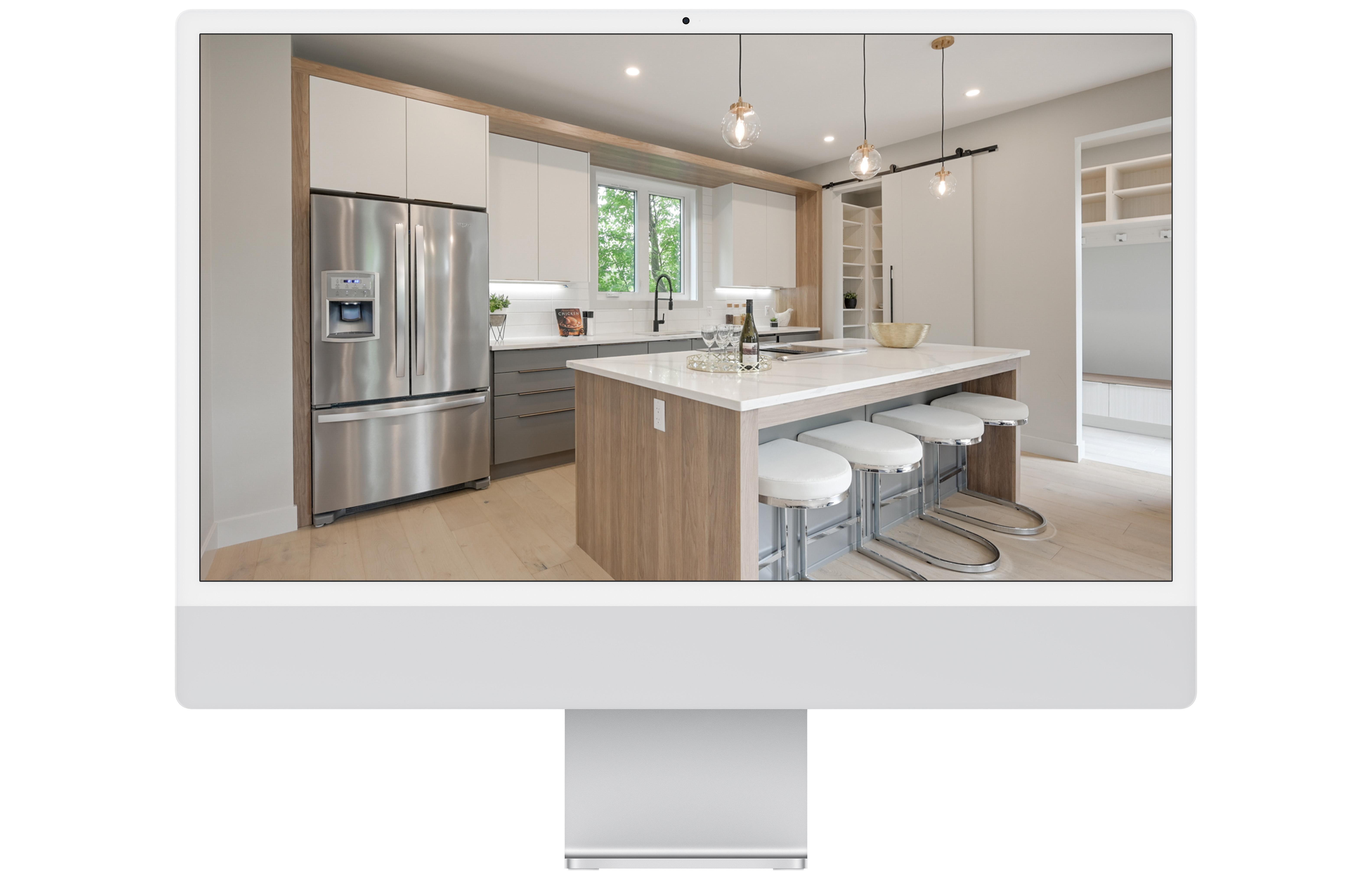 Modern living room of rental property