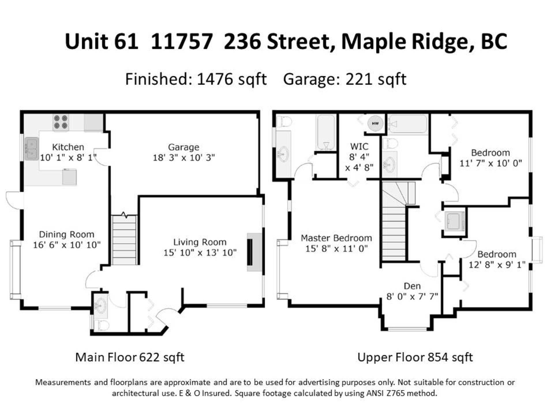 floorplan at 61 - 11757 236 Street, Cottonwood MR, Maple Ridge