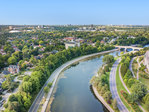 730-echo-drone-looking-down-canal-south at 730 Echo Drive, Old Ottawa South, Ottawa