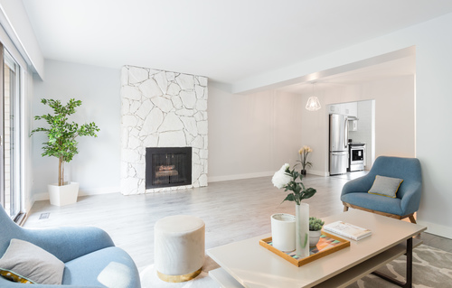 6886-living-fireplace at 6874 Beechcliffe Drive, Montecito, Burnaby North