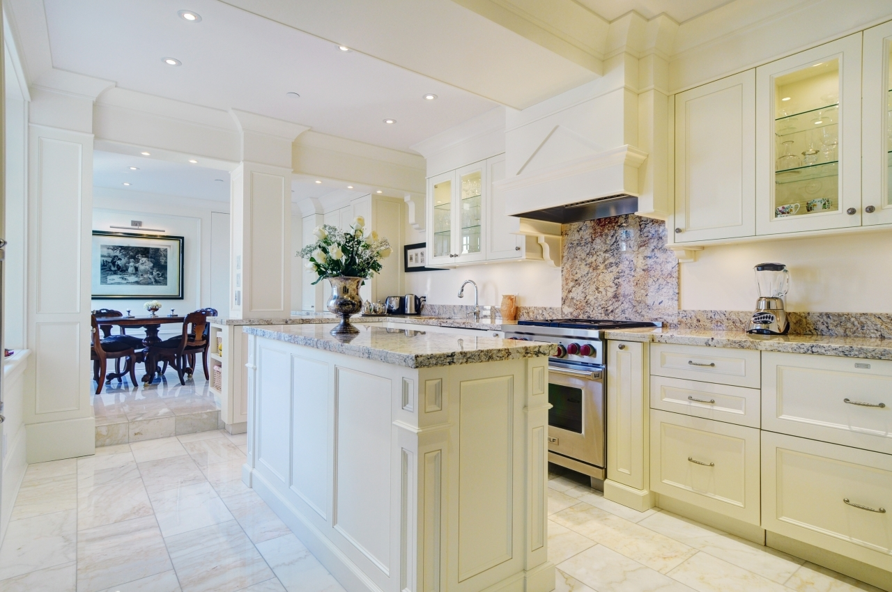 White Persa Granite Counters in Full Size Chef's Kitchen at #50 - 1386 Nicola Street, West End VW, Vancouver West