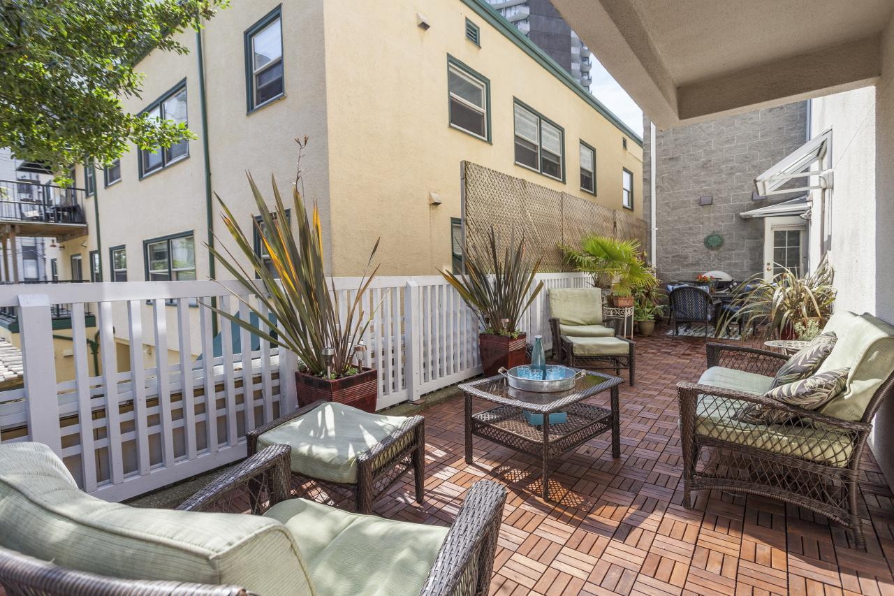 Private Patio at 102 - 1558 Harwood Street, West End VW, Vancouver West