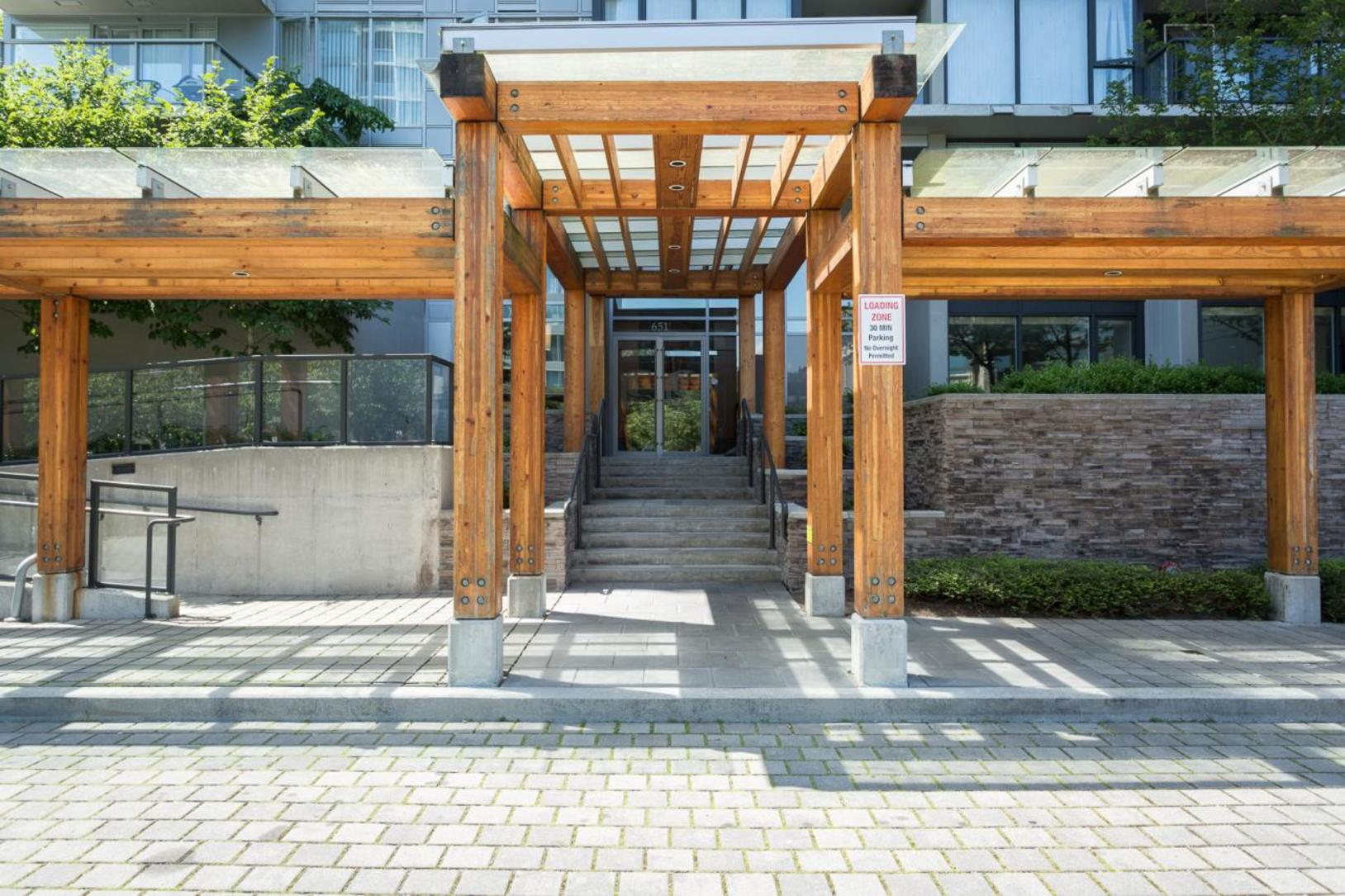 Building's main entrance at 1802-651 Nootkaway Street, Port Moody