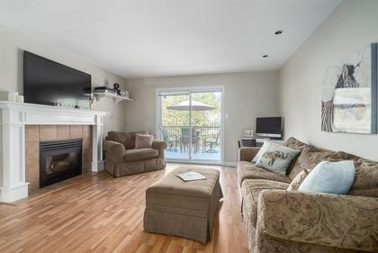 Family Room with Gas Fireplace at 1870 Peters Road, Lynn Valley, North Vancouver