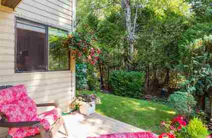 Patio to private yard at 7427 Echo Place, Champlain Heights, Vancouver East
